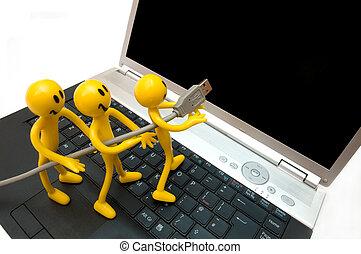 computadora, world., entrar, cyber