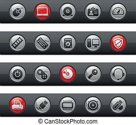 computadora, y, dispositivos, /, buttonbar