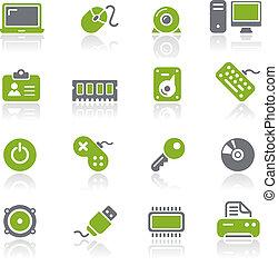 computadora, y, dispositivos, iconos, /, natura