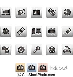 computadora, y, dispositivos, /, metalic