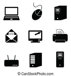 computadora, y, iconos de tecnología