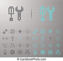 computadora, y, iconos del internet