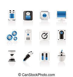 computadora, y, teléfono móvil, elementos