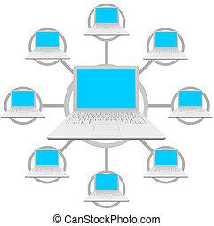 computadoras de computadora portátil, -, social, red, cuadrícula