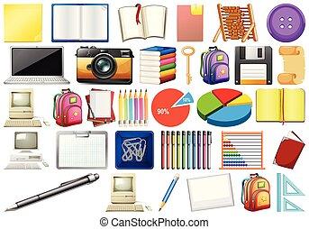 computadoras, educativo, oficina, libros, eqipment,...