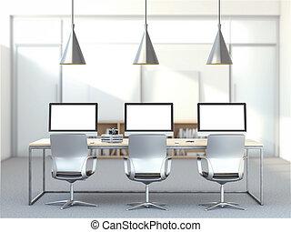 computadoras, lugar de trabajo, tres