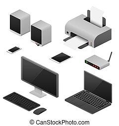 computadoras, oficina, vector, estación de trabajo, digital, suministros, isométrico, espacio de trabajo