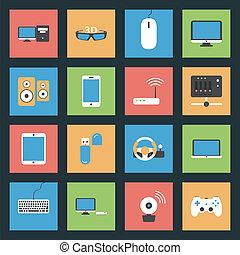 computadoras, plano, conjunto, red, iconos, dispositivos, periférico