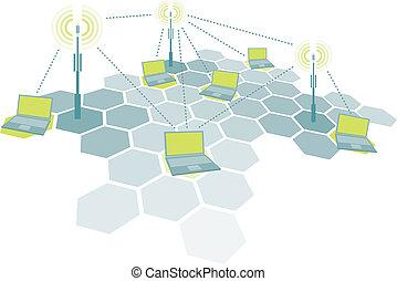 computadoras portátiles, radio, de conexión, red, /