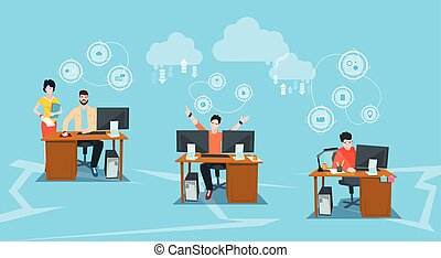 computadores, grupo, escritório negócio, pessoas, trabalho, desktop, local trabalho