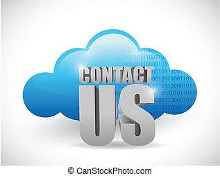 computando, nós, contato, desenho, ilustração, nuvem