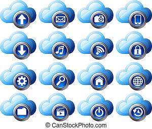 computando, nuvem, ícones