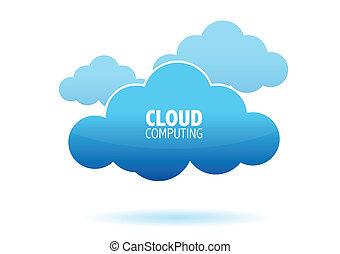 computando, nuvem, conceito