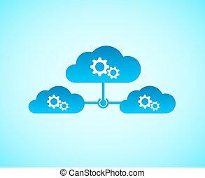 computando, nuvem, conectado, junto