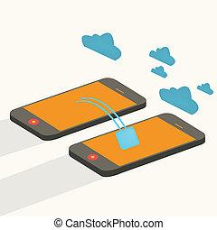 computando, nuvem, dispositivos, conectado, móvel, flat.