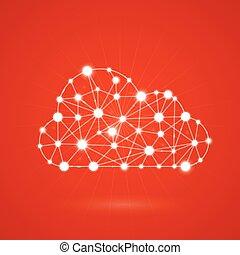 computando, nuvem, internet, -
