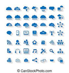 computando, nuvem, teia, rede, ícone