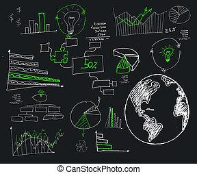 computations, prospekt, wykresy, obraz