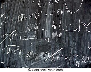 computations on a blackboard in a university department