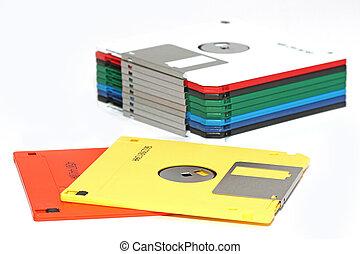 compute, coloreado, muchos, disquete, aislado, blanco
