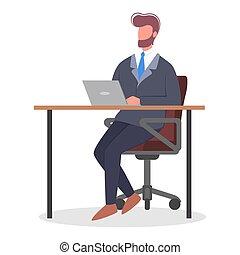 computer., スーツ, 机, モデル, 人, 仕事