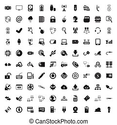 computer 100 icons set for web flat