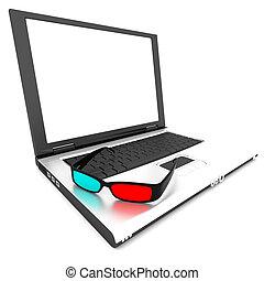 computer, 3d occhiali