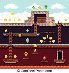 Computer 8 bit pixel video game. Platform and arcade vector...
