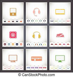 Computer. A set of flat stickers with shadow on white background