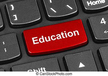 computer, aantekenboekje, toetsenbord, met, opleiding, klee