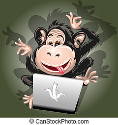 Computer addiction - Funny illustration with a monkey which...