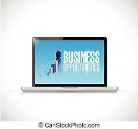 computer, affari, opportunità