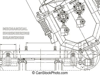 Computer aided design systems. Technical illustrations, backgrounds. Mechanical engineering drawing. Machine-building industry. Instrument-making drawings. Blueprint, diagram, plan, sketch