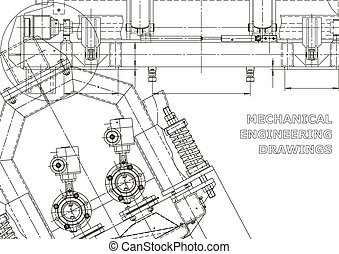 Computer aided design systems. Technical illustrations, backgrounds. Mechanical engineering drawing. Machine-building industry. Instrument-making drawings. Blueprint, diagram, plan