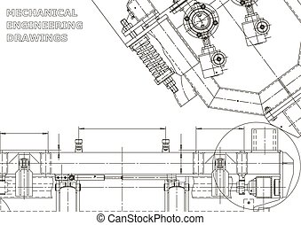 Computer aided design systems. Technical illustrations, backgrounds. Mechanical engineering drawing. Machine-building industry. Instrument-making drawings. Blueprint