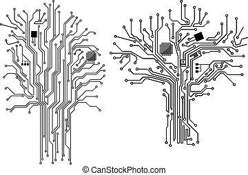 computer, albero, con, scheggia, e, scheda madre