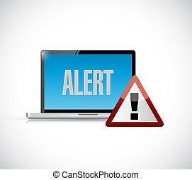 computer alert warning concept illustration design
