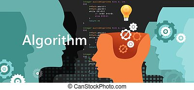 computer algorithm science problem solving process with programming language code concept light bulb and gear