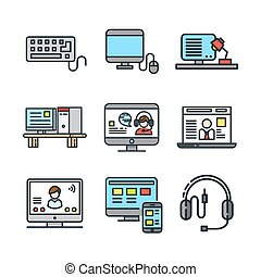 computer and accessories icon set color
