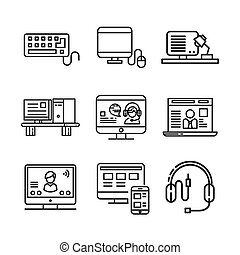 computer and accessories icon set