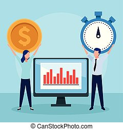 avatar businessman and woman holding up a money coin and chronometer