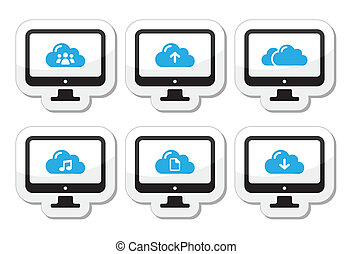 Computer and cloud vector icons set - Black clouds labels...
