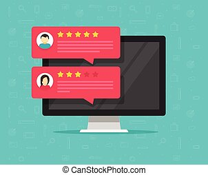 Computer and customer review rating messages vector illustration, flat desktop pc display with online reviews or client testimonials, concept of experience or feedback, rating stars, survey comments