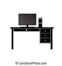 computer and desk for computer vector illustration