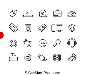 Computer and Devices Icons // Red Point Series
