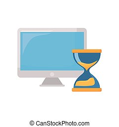 computer and hourglass on white background
