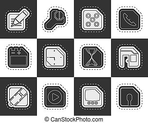 Computer and Internet Icons - Mobile Phone, Computer and...