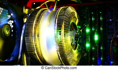 computer and its parts fan and lights