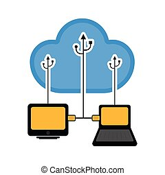 Computer and laptop connected to cloud technology