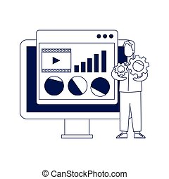 computer and man holding a gear wheels, flat design